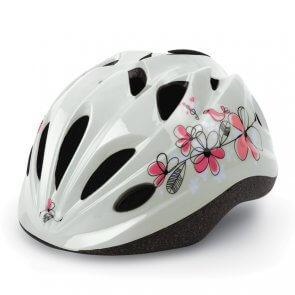 Каска детска POLISPORT FLOWERS бяло/розова